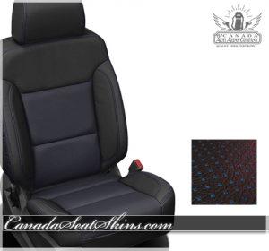 2017 Silverado Black Barracuda Blue Leather Seats