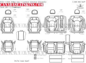 2019 - 2020 Ram Crew Cab Katzkin Leather Interior Schematic - 5 Passenger - Split Rear Seat