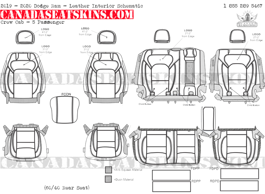 2019 - 2020 Ram Crew Cab Katzkin Leather Interior Schematic - 5 Passenger - Split Rear Seat