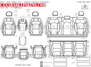 2019 - 2020 Ram Crew Cab Katzkin Leather Interior Schematic - 6 Passenger - Solid Rear Seat